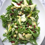 Winter Arugula Salad with Pomegranate, Pear and Stilton Cheese