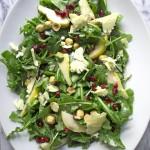 Winter Arugula Salad with Pomegranate, Pear and Stilton Cheese