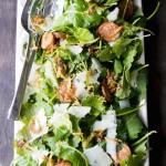 Baby Kale Salad with Spanish Chorizo, Manchego Cheese, Crispy Leeks and a Mustard Shallot Vinaigrette