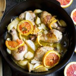 Braised Chicken with Blood Oranges and Jerusalem Artichoke