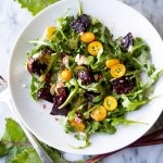Roasted Beet Salad with Goat Cheese, Kumquats, Pomegranates and Arugula with a Smoky Orange Vinaigrette