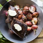Pan Seared Hanger Steak with Roasted Radishes
